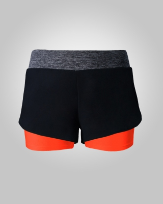 Two-in-One Sweat Free Training Shorts (Orange)