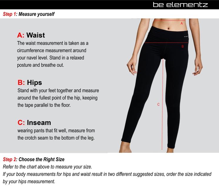 Size Chart WOMENS BREATH LIFTED YOGA PANTS WYP0001