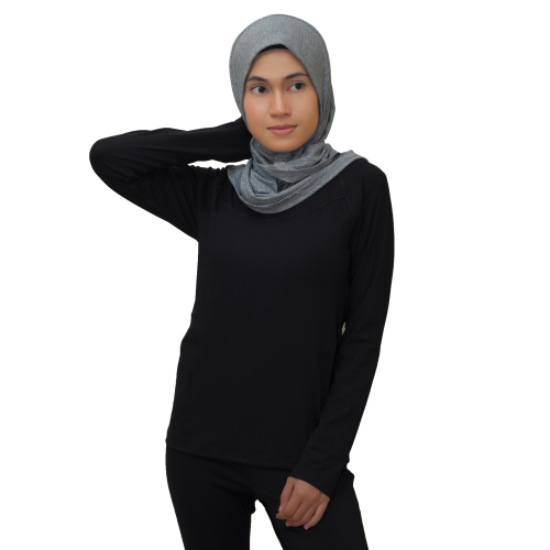 Women's Long Sleeve Training Shirt (Black)