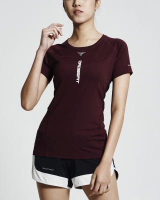 Crossfit Short Sleeve Tops (Maroon)