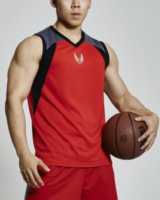 Sleeveless V-Neck Basketball Jersey (Red)