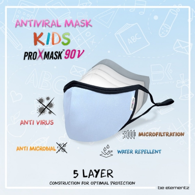 (RM29.95/pc) KIDS PROXMASK90V - 5 Layer Anti Virus Protective Mask with Microfiltration (BFE), Anti-Microbial and Water Repellent. Reusable up to 60 Hand Washes.