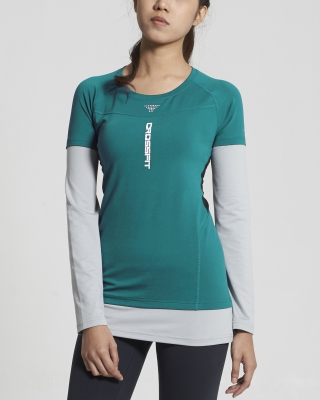 Crossfit Long Sleeve Tops (Turquoise)